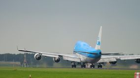 KLM Boeing 747 take-off. AMSTERDAM, THE NETHERLANDS - JULY 25, 2017: KLM Royal Dutch Airlines Boeing 747 PH-BFC departure and climb at Polderbaan 36L, Shiphol stock video footage