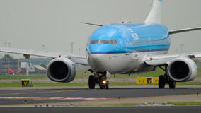 KLM Boeing 737 taxiing before departure stock video