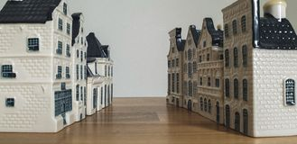 KLM Bols Miniature Delft Blue Houses stock images