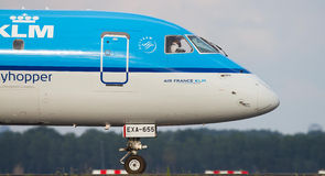 KLM Cityhopper. In Amsterdam on Schiphol Airport Stock Photography