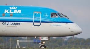 KLM Cityhopper. On Amsterdam Schiphol Airport Stock Photos
