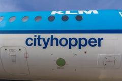 KLM Cityhopper-fuselage Royalty-vrije Stock Foto's