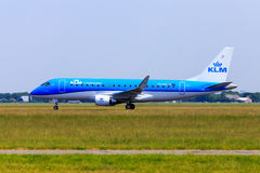 KLM Embraer 175. A KLM regional jet Embraer 175 taking off from Schiphol Amsterdam Airport Royalty Free Stock Image
