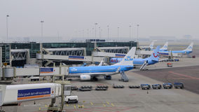 Amsterdam, die Niederlande: KLM-Flugzeuge, die an Schipol Flughafen geladen werden Lizenzfreie Stockfotos