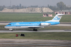 KLM Fokker 70 aircraft Royalty Free Stock Photography