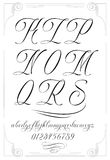 KLM. Handmade vector calligraphy tattoo alphabet with numbers Stock Photography