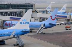 Amsterdam Nederländerna: KLM hyvlar att laddas på Schipol airportM hyvlar att vara loen Royaltyfri Fotografi