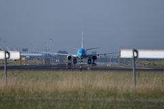 KLM jet taxiing in Schiphol Airport, Amsterdam, front view Royalty Free Stock Images