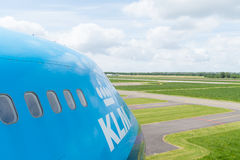 KLM 747 jumbo jet. LELYSTAD, NETHERLANDS - MAY 15, 2016: side view of a blue KLM 747 jumbo jet at the aviodrome aerospace museum at lelystad airport Stock Photo