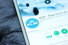 KLM, koninklijke Nederlandse luchtvaartlijnen mobiele app Stock Afbeeldingen
