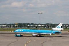 KLM Mcdonnell Douglas MD-11 à l'aéroport de Schiphol Images libres de droits