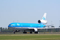 KLM MD-11. A KLM MD-11 on its take-off run Royalty Free Stock Photos