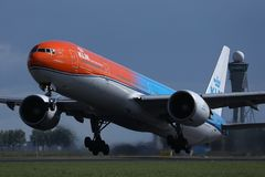 KLM Orange livery jet taking off from Amsterdam Schiphol Airport, AMS. KLM Royal Dutch Airlines jet takes off from Schiphol Airport, AMS, Netherlands royalty free stock photos