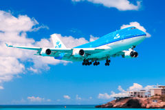 KLM 747 over Maho Beach, St. Maarten Royalty Free Stock Image