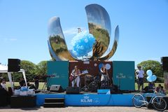 KLM Party at United Nations Park in Buenos Aires. Argentina. KLM Party at United Nations Park in Buenos Aires. In the Background the Floralis Generica. Its a royalty free stock photography