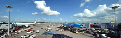 KLM Passenger plane in tropical airport Royalty Free Stock Photo
