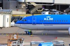 KLM plane arriving at gate Stock Images