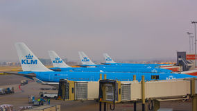 KLM plane being loaded at Schiphol Airport. Amsterdam, Netherlands Stock Photos