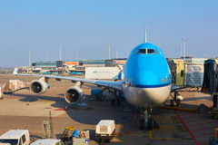 KLM plane being loaded at Schiphol Airport. Amsterdam, Netherlands stock photo