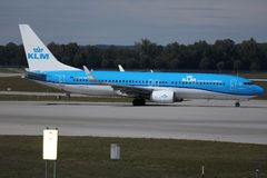 KLM plane doing taxi on runway royalty free stock images