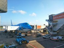 KLM plane in Schiphol Airport Royalty Free Stock Photography