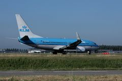 KLM plane in Schiphol Airport, side view Royalty Free Stock Image