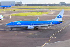 KLM plane on Schiphol Stock Photo
