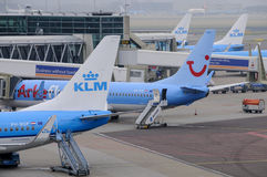 Amsterdam, Netherlands: KLM planes being loaded Royalty Free Stock Photography