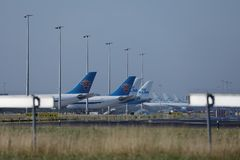 KLM planes at terminal gates in Schiphol Airport, Netherlands Stock Images