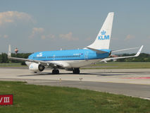 KLM Royal Dutch Airlines aircraft in Prague Stock Image