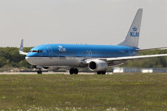 KLM Royal Dutch Airlines Boeing 737-800 aircraft preparing for take-off from the runway Royalty Free Stock Image