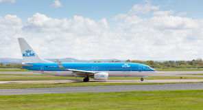 KLM Royal Dutch Airlines Boeing 737-800 preparing to take off from Manchester Airport Royalty Free Stock Image