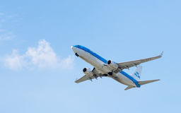 KLM Royal Dutch Airlines Boeing 737 in the sky Royalty Free Stock Photo