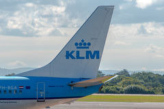 KLM Royal Dutch Airlines Boeing 737 tail Royalty Free Stock Photos