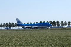 KLM Royal Dutch Airlines jet taxiing in Schiphol Airport, AMS stock images