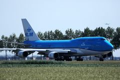 KLM Royal Dutch Airlines jet taxiing in Schiphol Airport, AMS royalty free stock photos