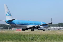 KLM Royal Dutch Airlines jet doing taxi in Schiphol Airport, Amsterdam Stock Photos