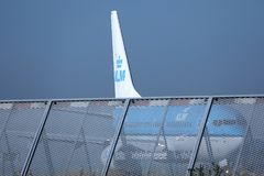 KLM Royal Dutch Airlines jet doing taxi in Schiphol Airport, Amsterdam. Tail closeup Royalty Free Stock Images