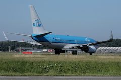 KLM Royal Dutch Airlines jet taxiing in Schiphol Airport, Amsterdam Royalty Free Stock Photo