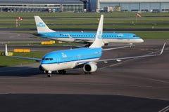 KLM Royal Dutch flygbolagBoeing 737-800 flygplan Amsterdam Arkivfoton