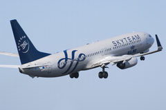 Klm Skyteam B737 take off Stock Photography
