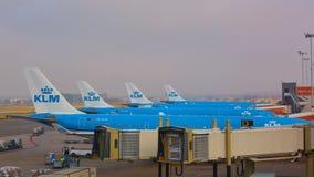 KLM spiana il carico all'aeroporto di Schiphol Amsterdam, Paesi Bassi fotografie stock