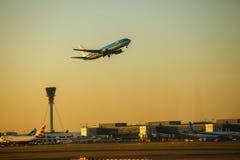 KLM-vliegtuig Stock Afbeeldingen