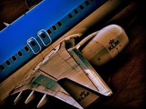 KLM-vliegtuigen in Amsterdam Royalty-vrije Stock Foto