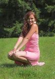 klänningflickapink Fotografering för Bildbyråer