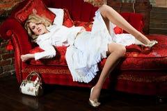 klänningflickawhite Royaltyfri Foto