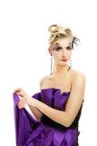 klänninginnegrejkvinna Royaltyfri Foto