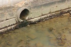 Kloakrörvatten och flodförorening royaltyfri bild
