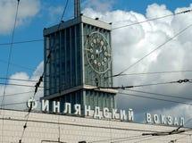 Klocka av den Finlyandsky terminalen petersburg saint Fotografering för Bildbyråer
