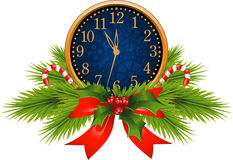 klocka dekorerat nytt s år för helgdagsafton vektor illustrationer